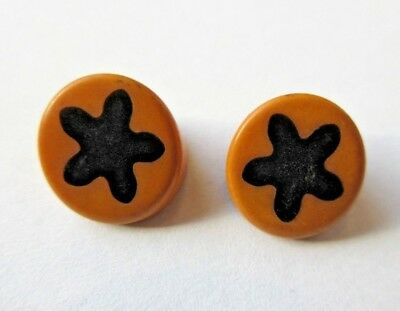 Fantastic Lot of 2 Matching Antique~ Vtg Bakelite COOKIE BUTTONS w/ STARS (R)