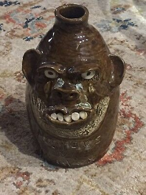 "Large GA Folk Pottery Face Jug Late Marie Rogers "" No Tears In Heaven "" 8"" Mint"