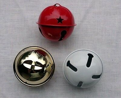 "One 65mm (2.5"") Large Craft Jingle Bell w/ Star Cutouts ~ 4 Colors Available"