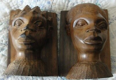 Vintage Hand Carved Solid Wood Bookends African Tribal Man & Woman Figurines