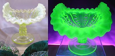 "DUGAN""BUCKEYE""c1908~ANTIQUE""VASELINE OPALESCENT GLASS""SRC~CARD TRAY/COMPOTE""MINT"