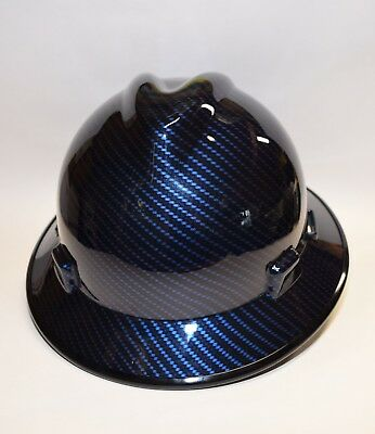 MSA V-Gard (Full Brim) Hard Hat  Hydro Dipped in Candy Blue Carbon Gloss Finish