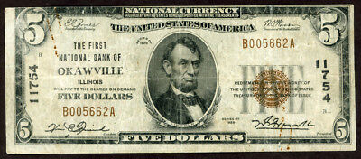 U.s.a. 5 Dollars  1929 Bank Of Okawville Illinois Off Central Error  Note!! Vf