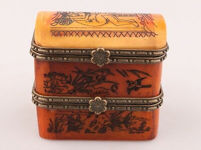 Vintage Chinese Cattle Bone Jewelry Box Old Hand-Painted Men Women Love Collec