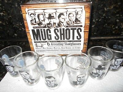 MUG SHOTS - 6 Piece Shot Glass Set of Famous Gangster Mugshots