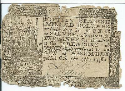 Oct 5,1778 Colonial Virginia $15 Spanish Milled Dollars VA161 Currency RARE Note