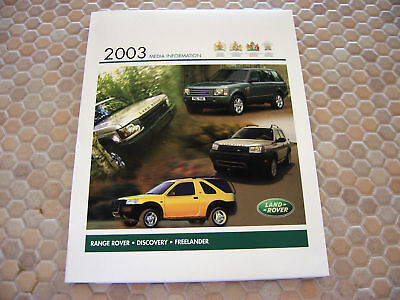 Land Rover Official Autoshow Press Release Kit Brochure 2003 Usa Edition.