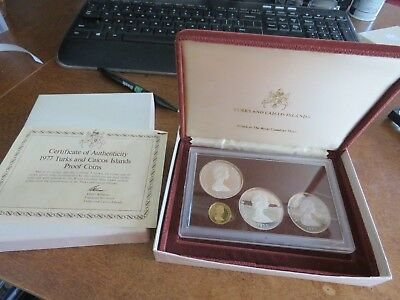 1977 Turks & Caicos 4 Coin Proof Silver & Gold Mint Set