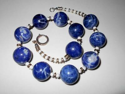 VINTAGE CHINESE EXPORT STERLING SILVER 18mm SODALITE BEAD ESTATE NECKLACE 116g