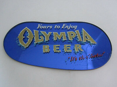 Vintage OLY Olympia Beer Advertising Sign Blue Glass Mirror Desktop Display Rare