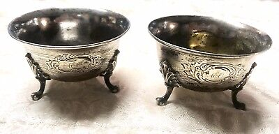 NICE PAIR OF 1800's WELL LOVED GORHAM COIN SILVER SALT CELLARS - WITH MONOGRAM