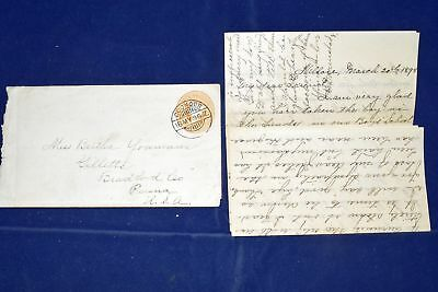 India QV Coonoor to US 1896 Postal Stationery Cover & Letter English Gilletts Pe