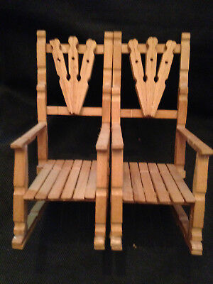 """2 Folk Art Unfinished Wooden Handmade Clothespin Rocking Chairs Miniature 7 1/2"""""""