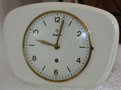 Vintage White Junghans Ceramic Wall Clock - Made In Germany
