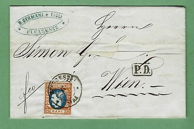 Romania; 1869, 25 Bani Orange and blue on 1870 FLS from Bucharest to Vienna, VF