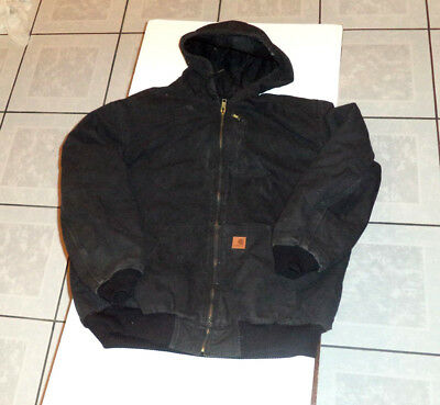 Mens Carhartt Sandstone Canvas FLEECE Quilt Lined Jacket with Hood size 3XL T
