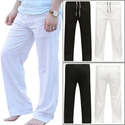 Mens Cotton Linen Long Pants Casual Loose Solid Yoga Sport Beach Slacks Trousers