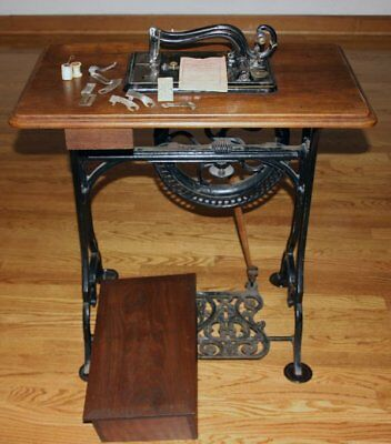 RARE 1860s Grover & Baker Sewing Machine in Cabinet w/Manual & Needles