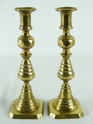 Antique c1880 Large Victorian Brass Candlesticks with Ejectors England Patent