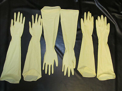 3 Paar/Set,480 mm lange Latexhandschuhe,Latex-Gloves,Gants, Gummihandschuhe,S/7