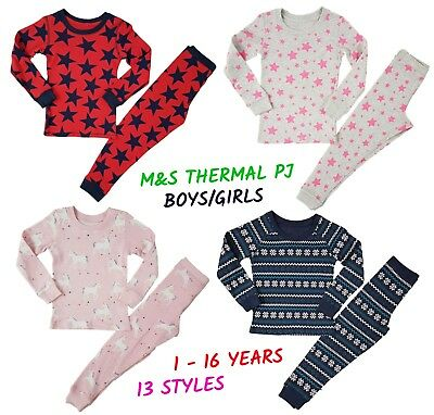 Ex M+S Girls Boys THERMAL Pyjamas Warm PJs PJ Set Long Sleeve Snuggle Fit Kids