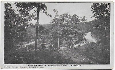 (#3053) Old B+W Postcard Horse Shoe Bend  Hot Springs Mountain Drive  Arkansas