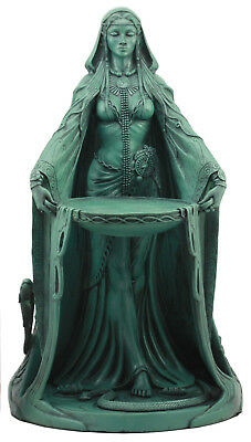 "Large Maxine Miller Celtic Danu With Cauldron Statue 16""H (Green)"