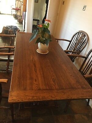 Beautiful Antique Oak Refectory Table With 4 X Yew Wheelback Antique Chairs