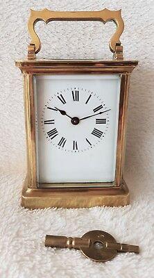 Carriage Clock Antique 8 Day Brass Key Fully Working Top Condition