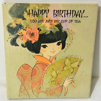 """VTG American Greetings Birthday Gift Book Card """"You Are Just My Cup of Tea"""" 1971"""