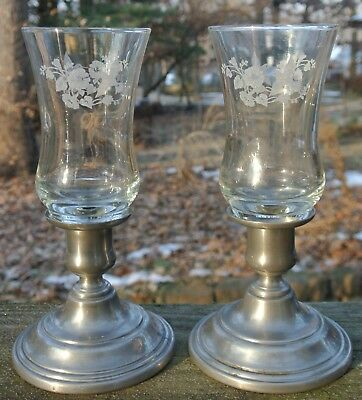 Pair of International Pewter Candlestick Holders with Acid Edge Candle Holders