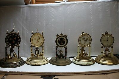 5 Large Anniversary clocks /400.day clocks/torsion clocks /dome clocks F.S;O;R