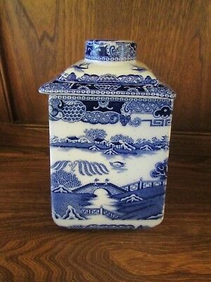 Maling 1930's for Ringtons. Tall Lidded Tea Caddy/Jar. Blue Willow A/F