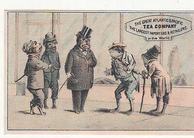 Great Atlantic Pacific Tea Frog People Dog Gentlemen on Street Vict Card c1880s