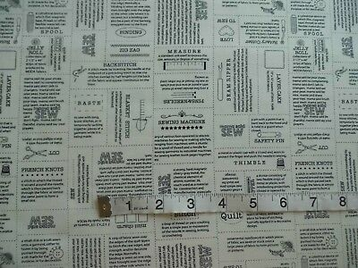'Define; Sewing Definitions'  Moda patchwork/quilting/craft cotton FQ