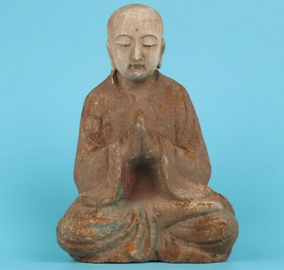 Ancient Big Old Wood Hand Carved Blessing Buddha Statue Feng Shui Collectable