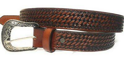 Men's Big And Tall Genuine Leather Casual Work Belt. Basket Wave Western Style