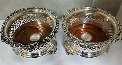 Pair Large Silver Plated Wine / Champagne Bottle Coasters. Quality.