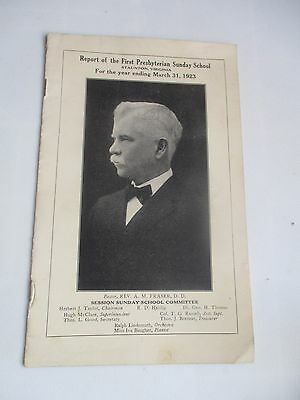 1923 First Presbyterian Sunday School Staunton Virginia Usa  Report