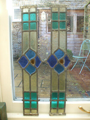 Pair Genuine Antique Stained Glass Window Panels Old Church - Ecclesiastical!