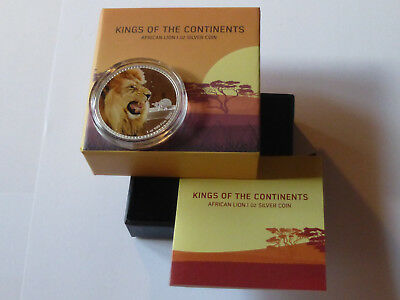 NIUE 2016   2 $  1 oz AG  PP / COLOURED   KINGS OF THE CONTINENTS - AFRICAN LION