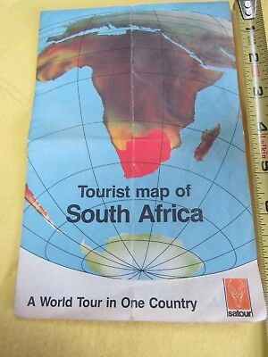 Mid Century *SATOUR Tourist Map of South Africa* Wall Art Poster Vintage History
