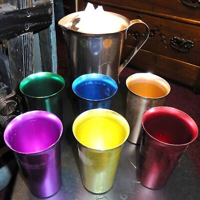 Vintage Set of Six (6) Color Craft Aluminum Drinking Glasses Cups & pitcher
