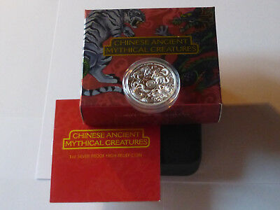 Tuvalu 2016  1Tvd 1 Oz Silver 999 Proof High Relief - Chinese Mythical Creatures