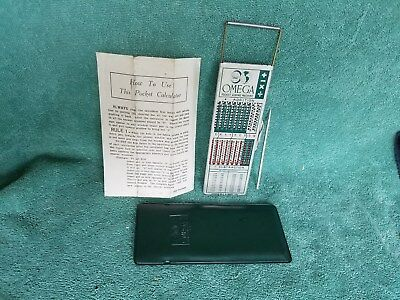 OMEGA Vintage Pocket Adding Machine Calculator UNUSED -