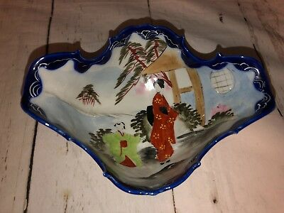 Vintage Japanese Raised Hand Painted Large Footed Bowl White & Blue