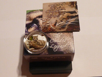 FIJI 2013  10 DOLLARS  SILVER PROOF/ COLOURED COIN THE CLOUDED LEOPARD colored
