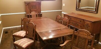 1932 Lammert's Dining Room Set, Table (6) Upholstered Chairs, Hutch & Buffet