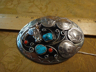 Vintage Squaw Wrap Belt Buckle Horse & Buffalo Nickel Design - Free S&H USA