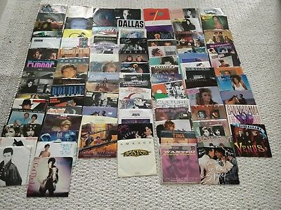 """Lot of 92 45 rpm Vinyl Records with Sleeves NICE  7"""" 45s 80's music"""